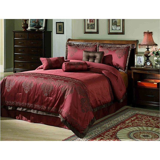 fontain burgundy 7 piece comforter set overstock shopping great deals on comforter sets