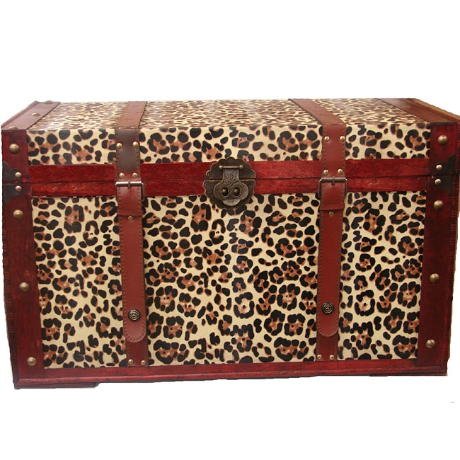 Phat Tommy Leopard Decorative Wooden Storage Trunk