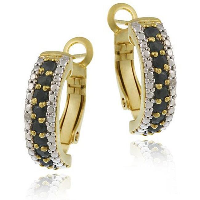 Glitzy Rocks 18k Gold/ Sterling Silver Sapphire/ Diamond Half Hoop Earrings