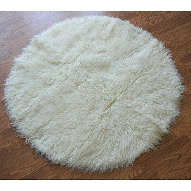 Alexa Standard Natural Flokati New Zealand Wool Shag Rug