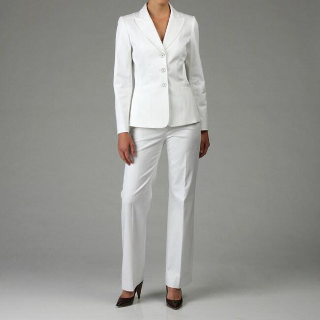 Cool Classic White Pant Suit  Imeverywoman