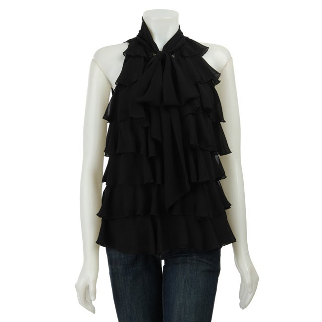 CC Couture Women's Flutter Ruffle Tiered Top