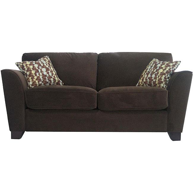 Gaff Chocolate Brown Velvet Microfiber Modern Sofa  : L12340740 from www.overstock.com size 650 x 650 jpeg 26kB