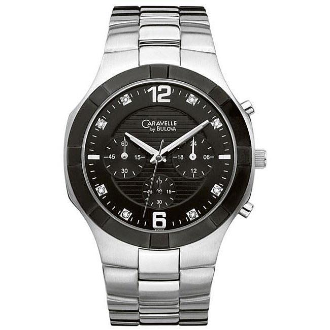 Caravelle by Bulova Mens Black Chronograph Watch
