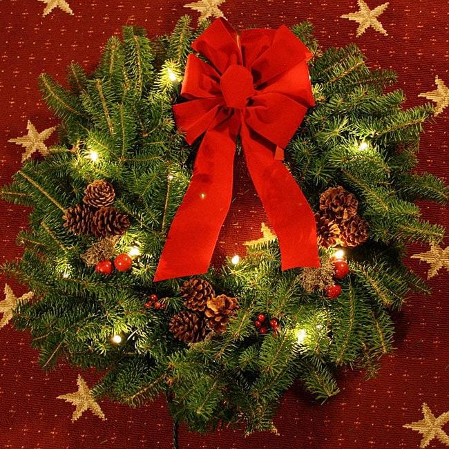 Classic Pre-lit 24-inch Fresh-cut Maine Balsam Wreath