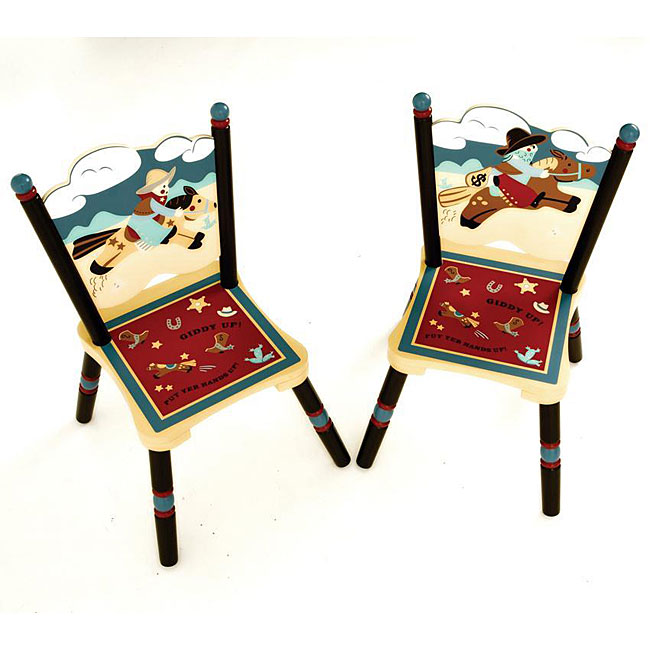 Wild West Cowboy-print Kids' Chairs (Set of 2)