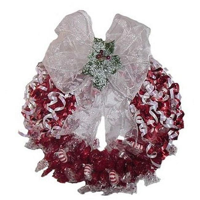 Cinnamon and Peppermint Twist Candy Wreath