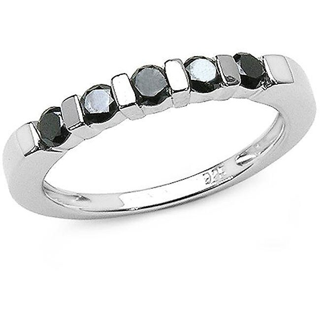 Malaika Silver 1/2ct TDW Black Diamond 5-stone Ring