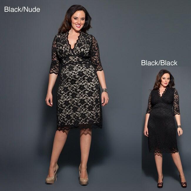 Kiyonna Clothing Women's Plus Size Lace Dress (Black Lace/Nude Lining