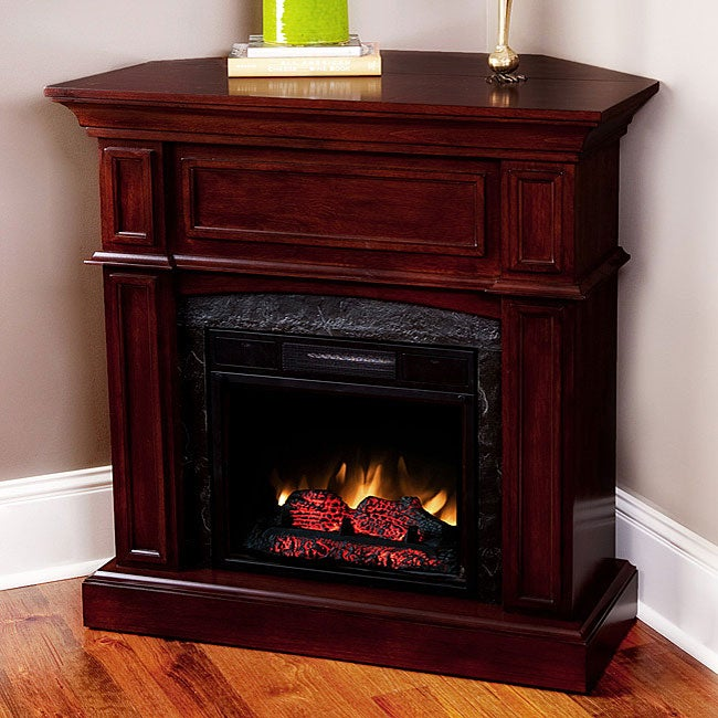 Cherry 18 Inch Corner Combo Electric Fireplace Mantel