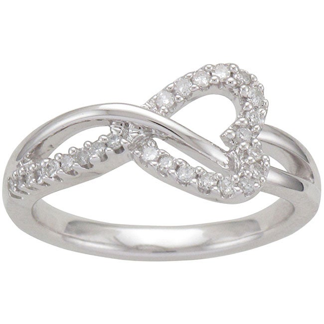 Unending Love Sterling Silver 1/5ct TDW Diamond Heart Ring (I-J, I1-I2)