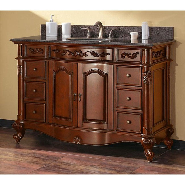 60 inch double vanity in antique cherry finish with dual sinks and top