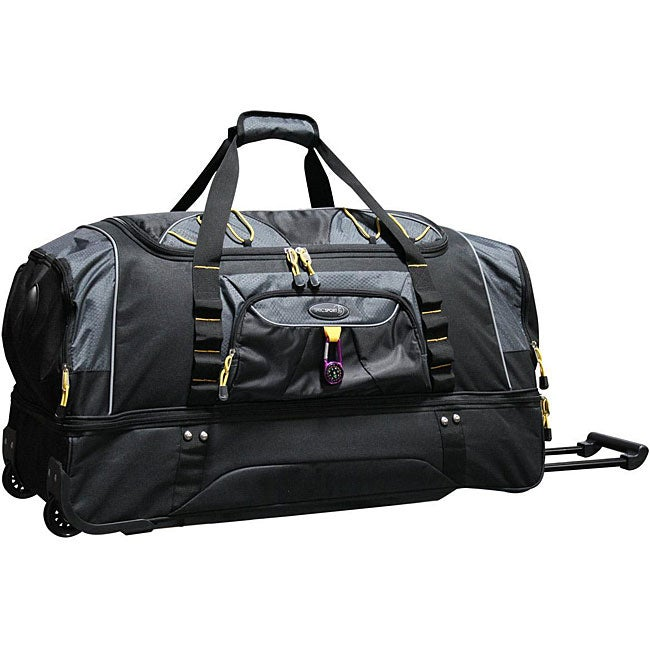 Traveler's Club Luggage Travelers Club Black w/ Yellow Trim 30-inch Rolling Drop-Bottom Duffel Bag at Sears.com