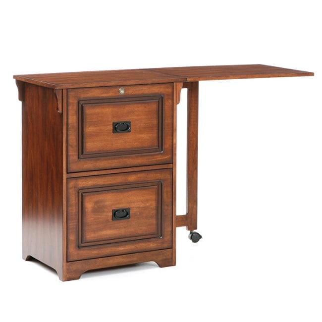 Walnut Fold Away File Desk 12364405 Overstock Com