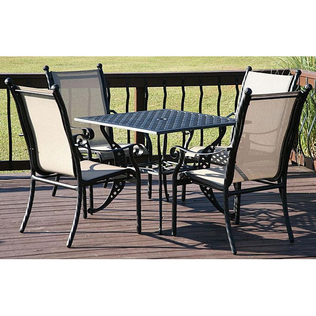 Milan 5 piece Aluminum Sling Patio Furniture Set Overstock S