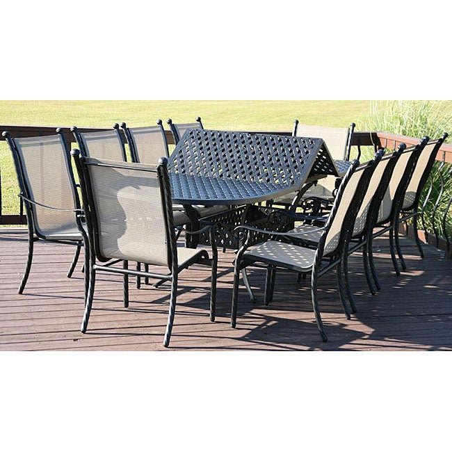 Milan 11 piece Patio Furniture Set with Expansion Table Overstoc