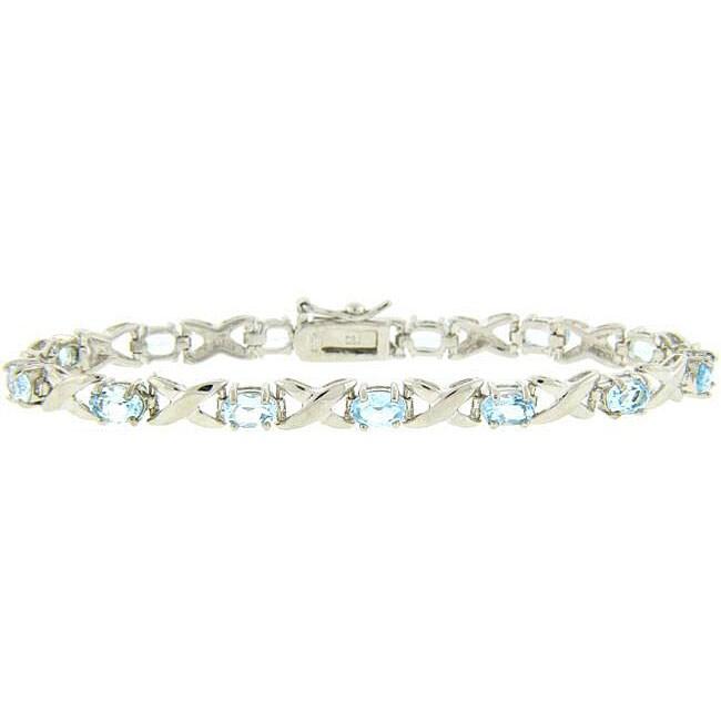 Dolce Giavonna Sterling Silver Blue Topaz Bracelet
