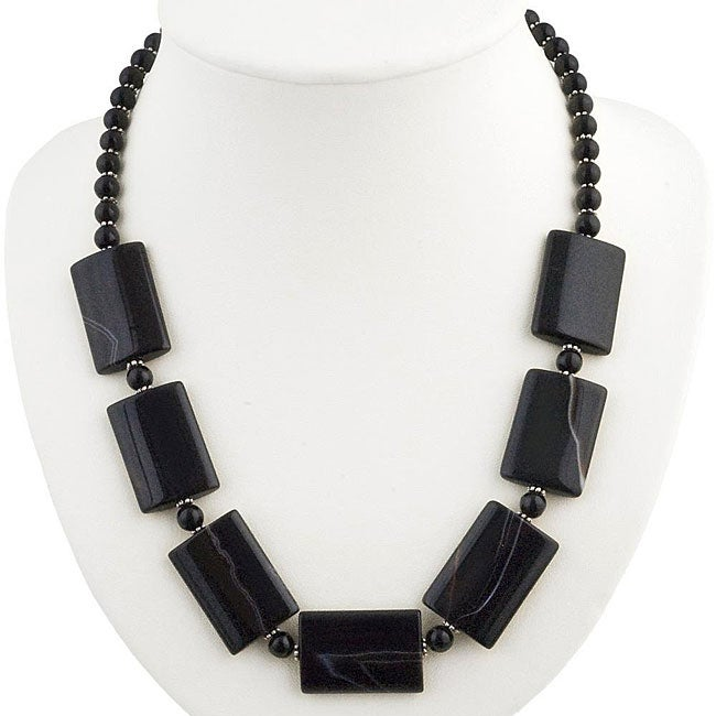 Silver, Black Onyx and Agate Necklace (Thailand)