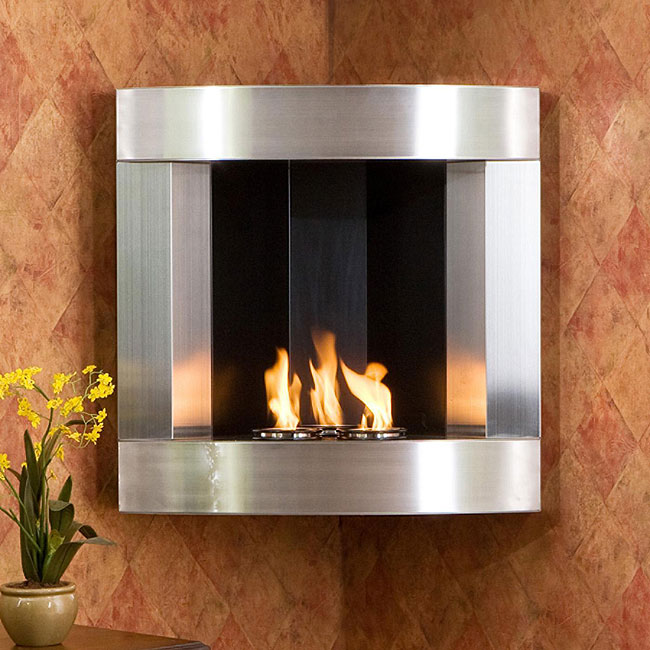 Stainless Steel Corner Wall Mount Fireplace Overstock