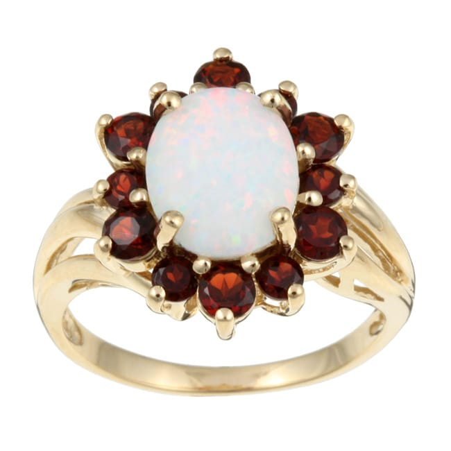 10k Yellow Gold Created Opal And Garnet Flower Ring