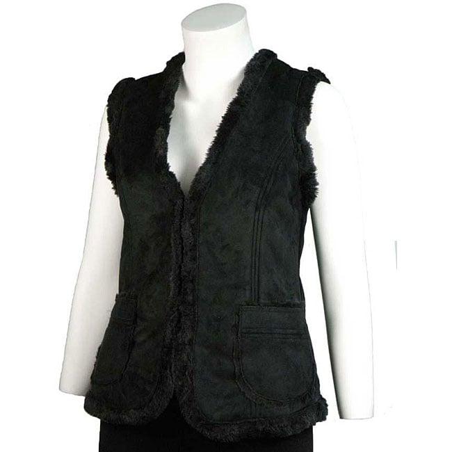 Basic Line Women's Black Faux Shearling Vest