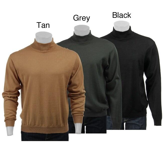 Visitor Mens Merino Wool Blend Mock Turtleneck Sweater