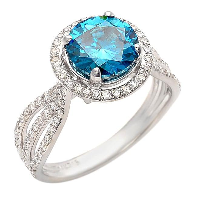 14k Gold 2 2/5ct TDW Blue Diamond Halo Ring (G-H, SI1-I1) (Size 7)