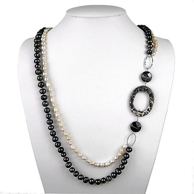 Pearl/ Snowflake Obsidian/ Black Agate Necklace (20 mm ...