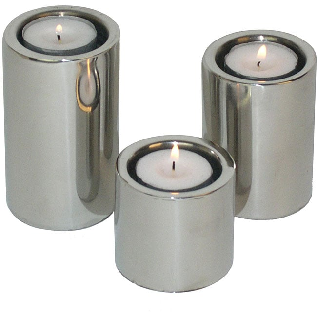 Stainless Steel Cylindrical Candleholders (Set of 3)