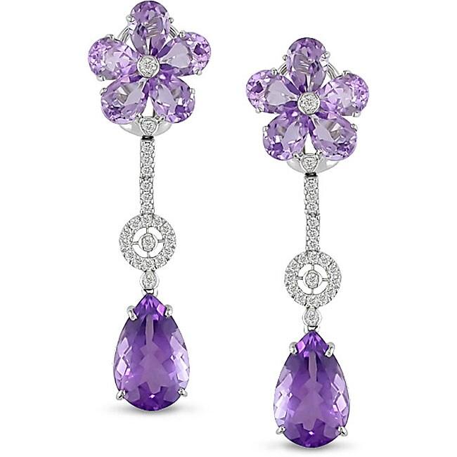 18k White Gold Amethyst and Rose de France Earrings