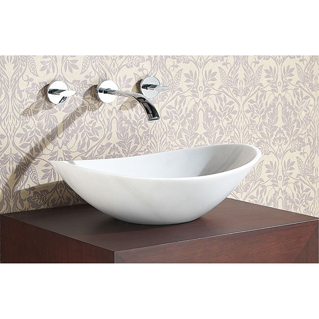 White Stone Sink : Avanity Oval White Marble Stone Vessel Sink - 12380144 - Overstock.com ...