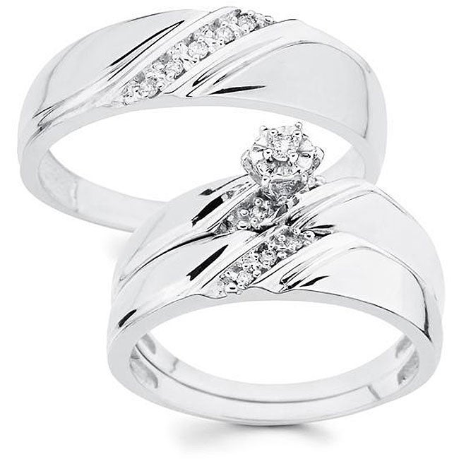 10k Gold His and Her 1/10ct TDW Diamond Wedding Ring Set (H-I, I1)