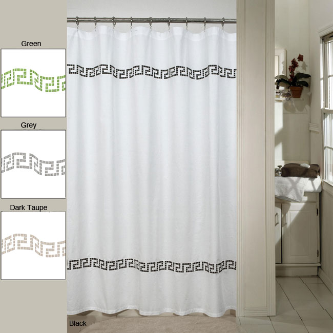 Westone Greek Key Embroidered Shower Curtain 12382434