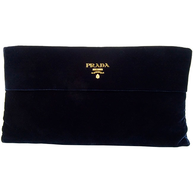 prada bags replica - Prada Dark Blue Velvet Evening Clutch - 12382629 - Overstock.com ...