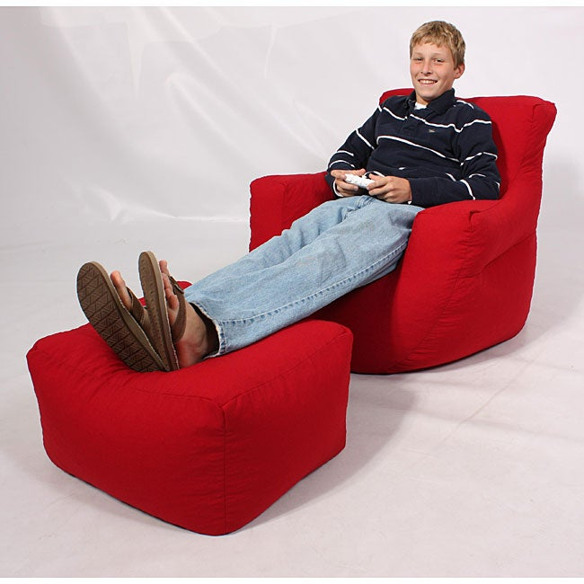 Kids Club Red Bean Bag Arm Chair Lounge Set - Overstock ...