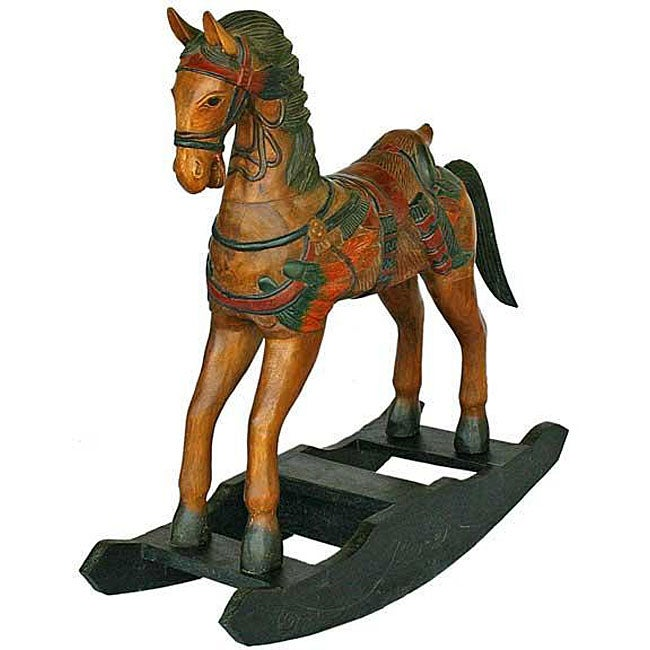 Handmade Wild West Decorative Wood Rocking Horse (Thailand)