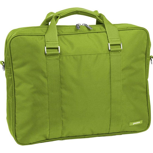 J World Green 15-inch Double Compartment Laptop Briefcase