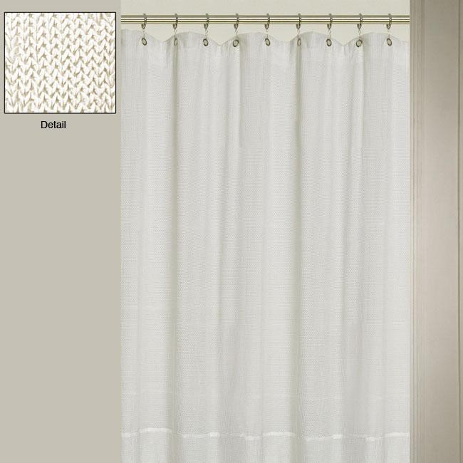 westone herringbone off white shower curtain 12384715 shopping great deals. Black Bedroom Furniture Sets. Home Design Ideas