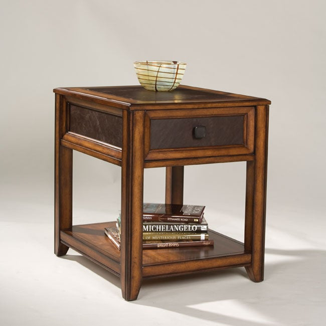 Patterson Wood and Faux Leather End Table
