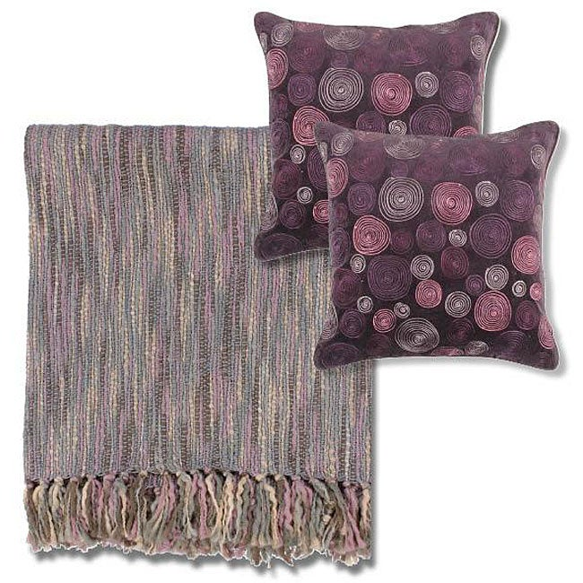 Mauve Grey Throw Blanket And Decorative Pillows