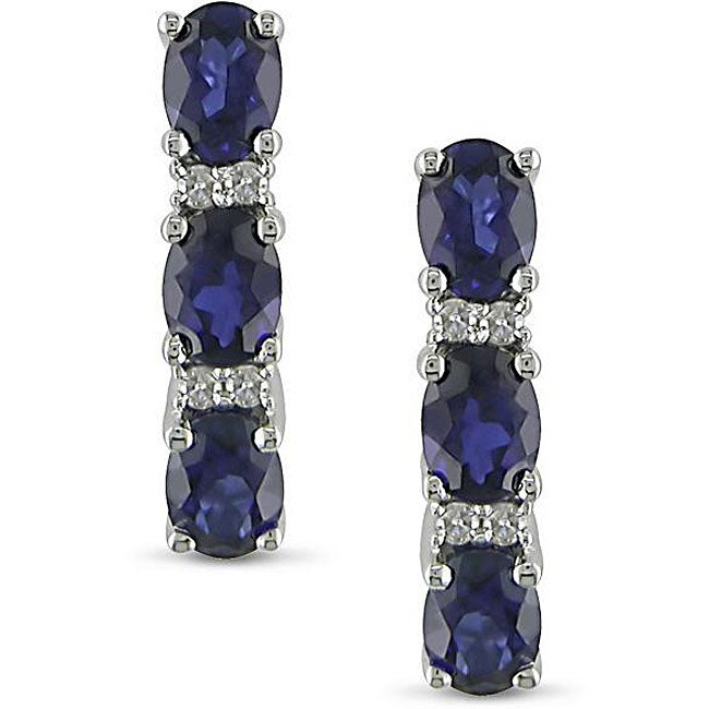 Eziba Collection Miadora 10k Gold Created Sapphire and Diamond Accent Earrings at Sears.com