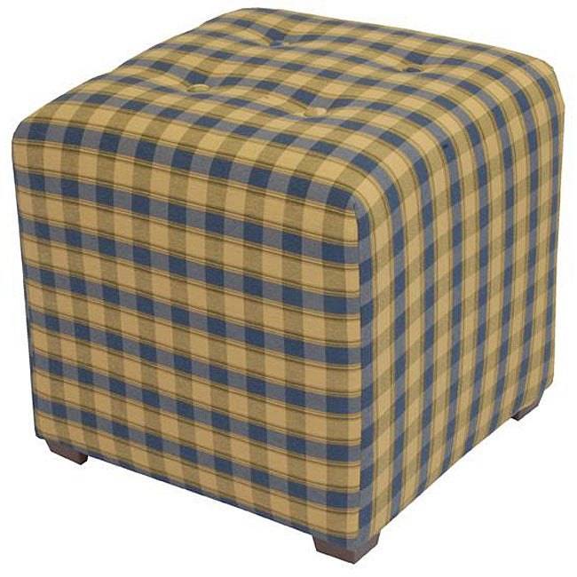 Tufted Blue/ Yellow Plaid Cube Ottoman