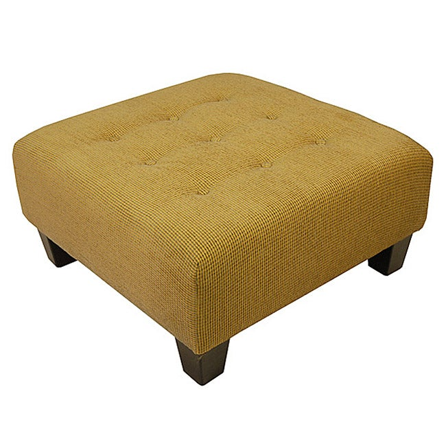 Butter Yellow & Gray Tweed Tufted Cocktail Ottoman