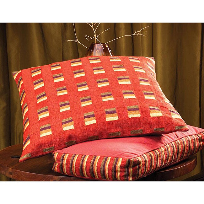 Rust Color Poly-filled Square Caravan Pillow (India)