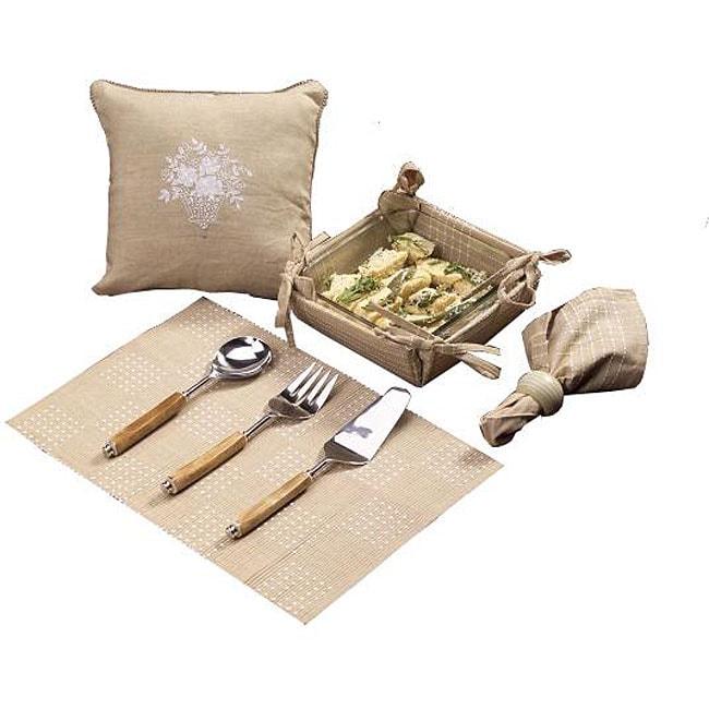 Set of 4 Khaki Kitchen Linens Gift Basket (India)