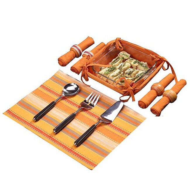 Set of 4 Orange Stripe Kitchen Linens Gift Basket (India)