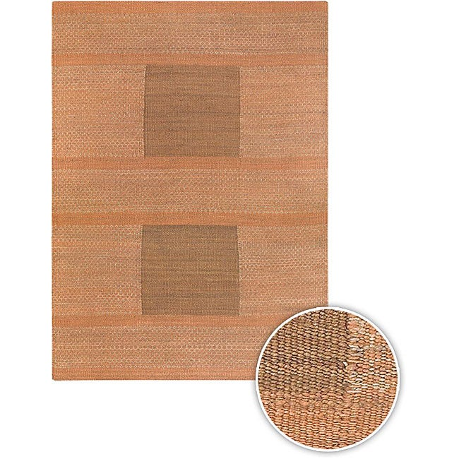 Hand-woven Mandara Orange Rug (5' x 7'6)