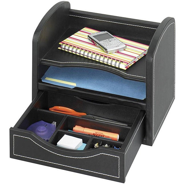 Safco faux leather desk organizer 12414570 overstock - Faux leather desk organizer ...
