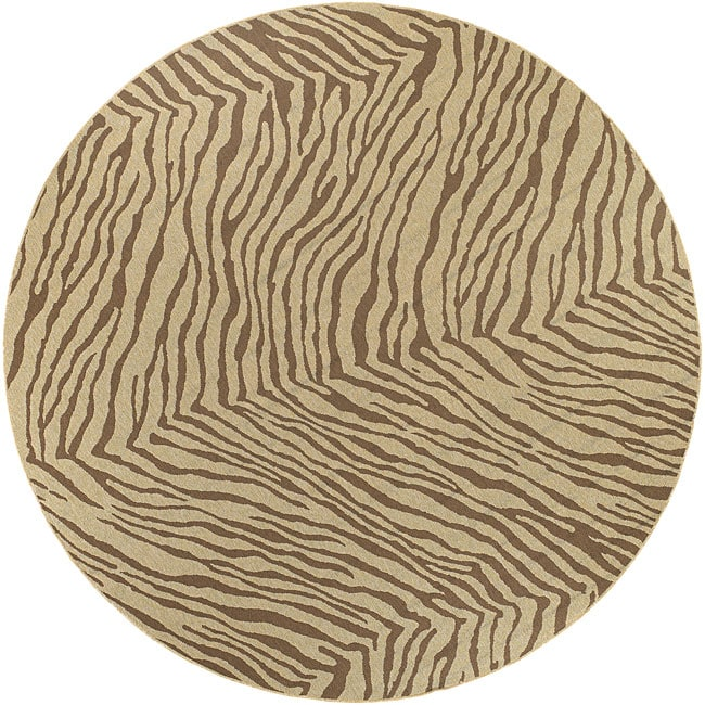 Cafe Zebra Print Indoor/Outdoor Rug (5'3 Round)