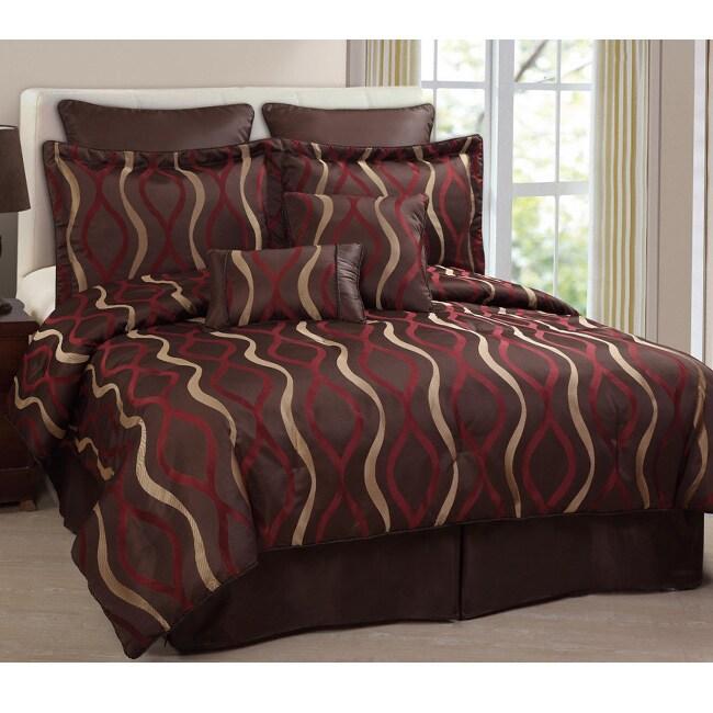 Symphony Chocolate/ Red 8-piece Comforter Set